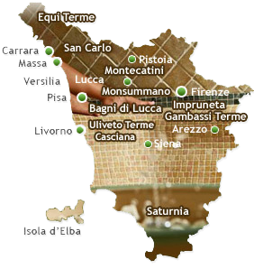 Map of the thermal baths in tuscany