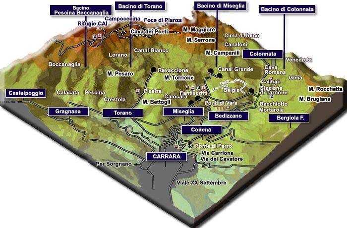 Mappa della Cave di Carrara in Toscana